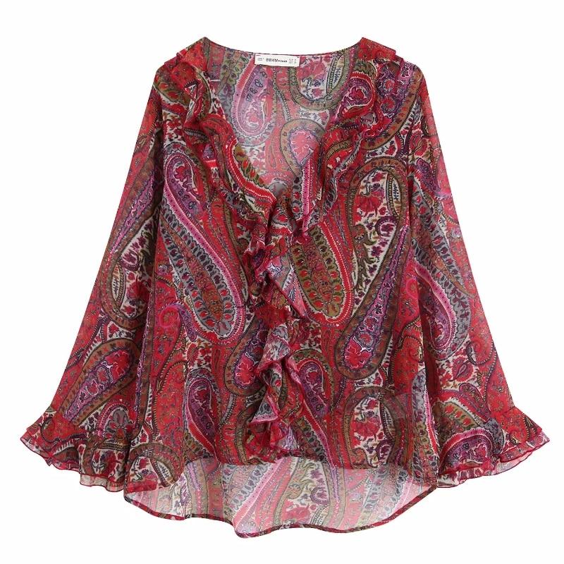 women vintage V neck cascading ruffles paisley floral print chiffon blouse ladies cashew nuts chic shirts femininas tops LS4328