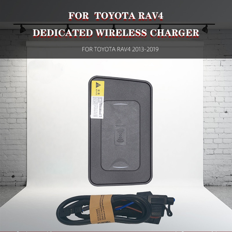 Get Car Wireless Charger For TOYOTA RAV4 2013-2019 Mobile Phone QI Wireless Car Charger For iPhone Fast Charge Mobile Phone Plate