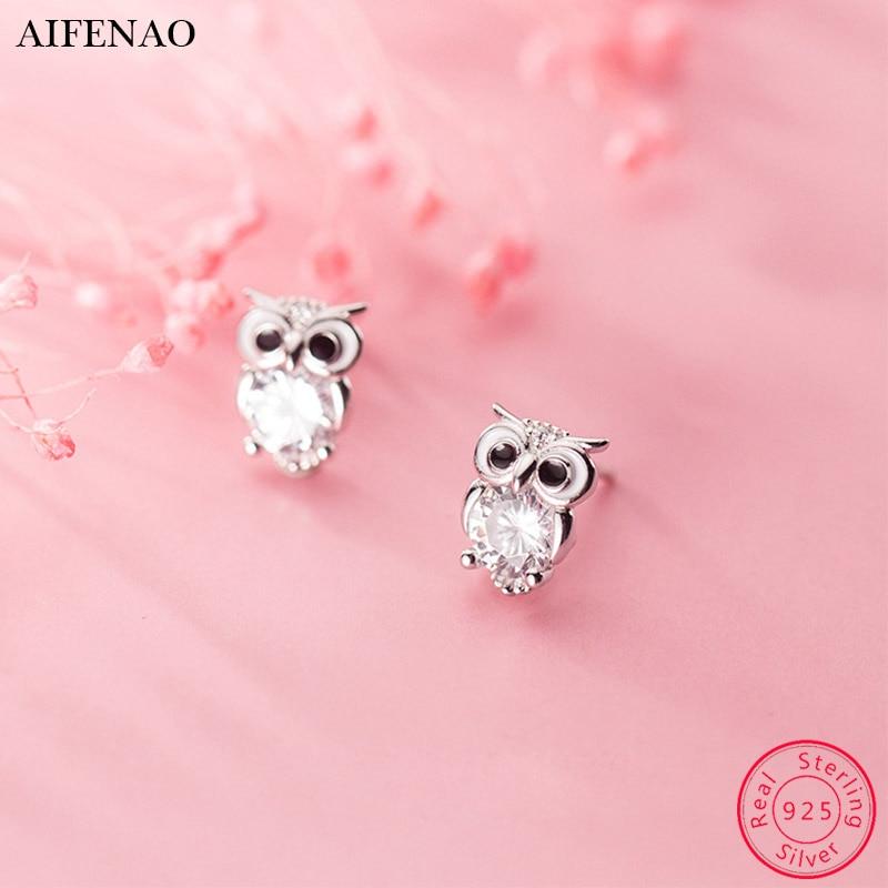 Cute Animal Owl Earring Cubic Zirconia 925 Sterling Silver Stud Earrings for Women Accessories Ear Fashion Jewelry Girl Gift