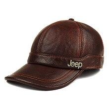 Casquette de Baseball en cuir véritable   Nouveau chapeau en cuir véritable pour adultes, casquette de Protection doreille chaude pour hommes en plein air, collection hiver,