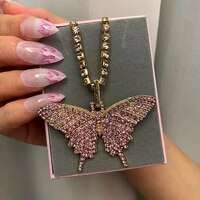 shiny crystal big butterfly pendant tennis chain necklace for women luxury cute animal charms choker full rhinestone new jewely