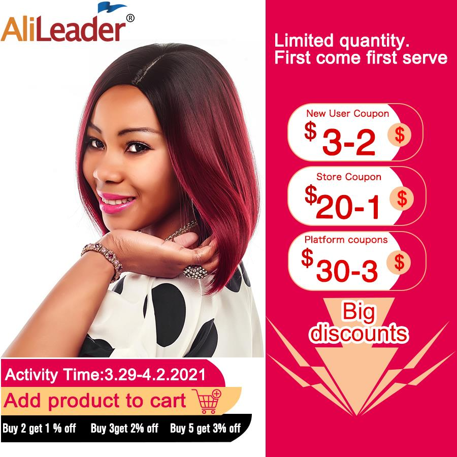 AliLeader Machine Made Heat Resistant Synthetic Wig Short Silky Straight Bob Hair Style Ombre Two Tone Green Dark Gray Afro Wigs