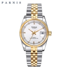 Parnis montre mécanique automatique hommes femmes Bracelet en acier inoxydable calendrier mis5 hommes montres cadeau pour homme haut de gamme marque de luxe