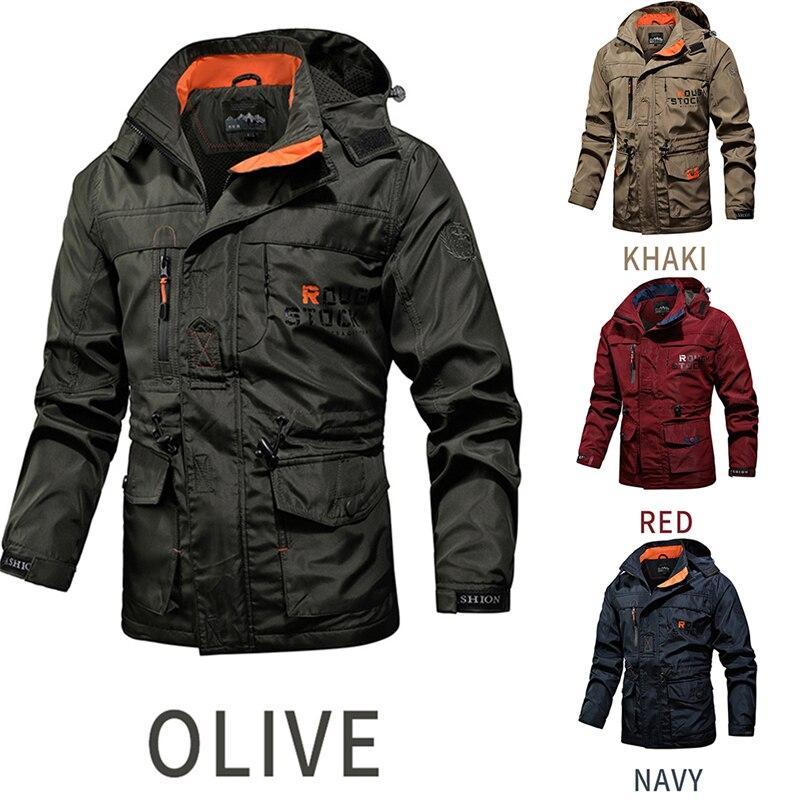 Mens Tactical Jacket Autumn Quick Dry Military Coat Male Multi Pockets Hooded Windbreaker Waterproof