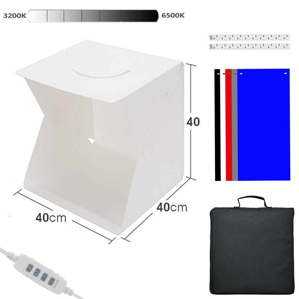 Folding Lightbox Photography 40*40  Photo Studio Softbox Panel LED Light Soft Box Photo Background Kit Light Box for DSLR Camera