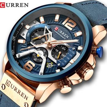 CURREN – Montre sports décontractée pour homme, avec cadran bleu, marque de luxe, design militaire, bracelet en cuir, avec fonction chronographe