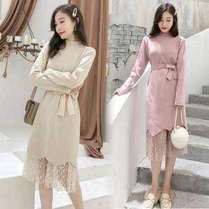Корейское стильное черное трикотажное платье для девушек с длинным рукавом, корсет, кружевное лоскутное платье-джемпер, женское свободное вязаное розовое платье размера плюс
