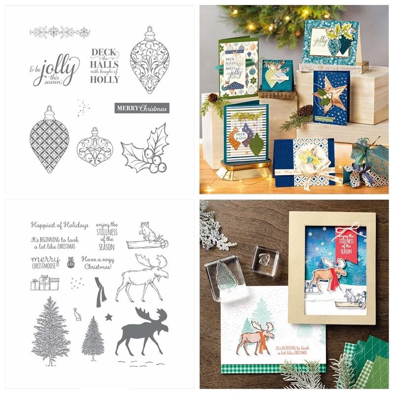 Natal sino alce árvore deck salões holly corte dados combinar claro selo scrapbook cartão fazer artesanato estêncil novo selo 2020 14