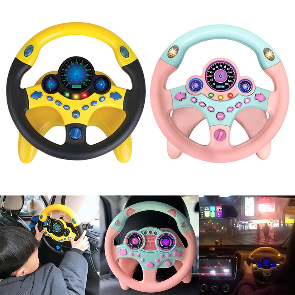 Electronic Simulation Steering Wheel With Light And Sound Early Education Puzzle Co-Pilot Sports Car Steering Wheel Toy Boy Gift