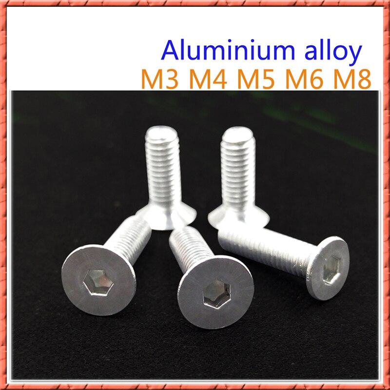 50-100Pcs/lot M3/M4/M5/M6/M8*L aluminum alloy countersunk head socket head cap screws Flat head hex bolt din7991 Anticorrosion