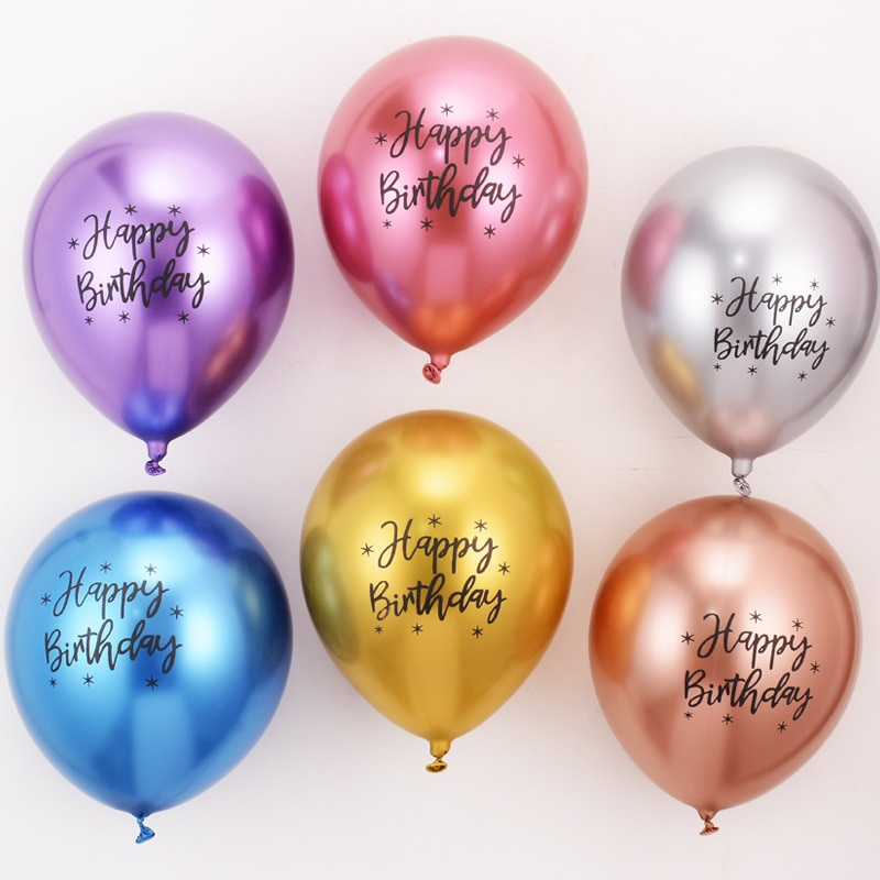AliExpress - 1 PCS 6 Colors 12 Inches Print  Happy Birthday Letters Party Aluminum Foil Metallic Luster Decorative Oval Balloons