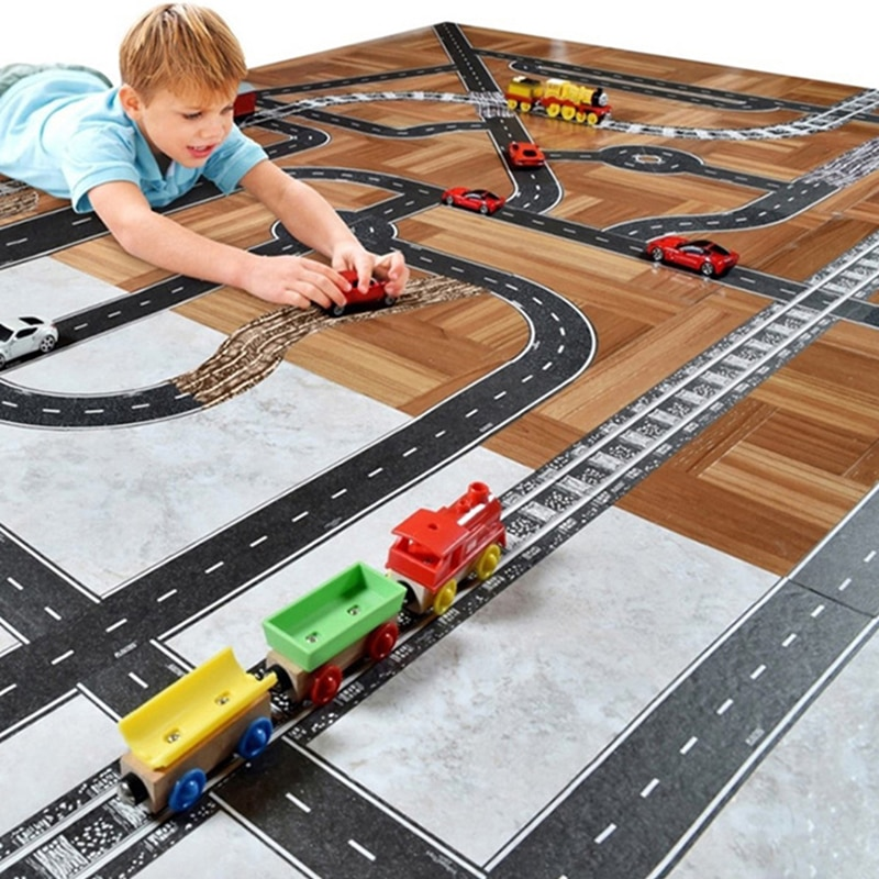 DIY Puzzles Track Play Set City Road Toy Car Track Pattern Baby Game Mat Floor Carpet Learning Toys Nordic Kids Room Decor