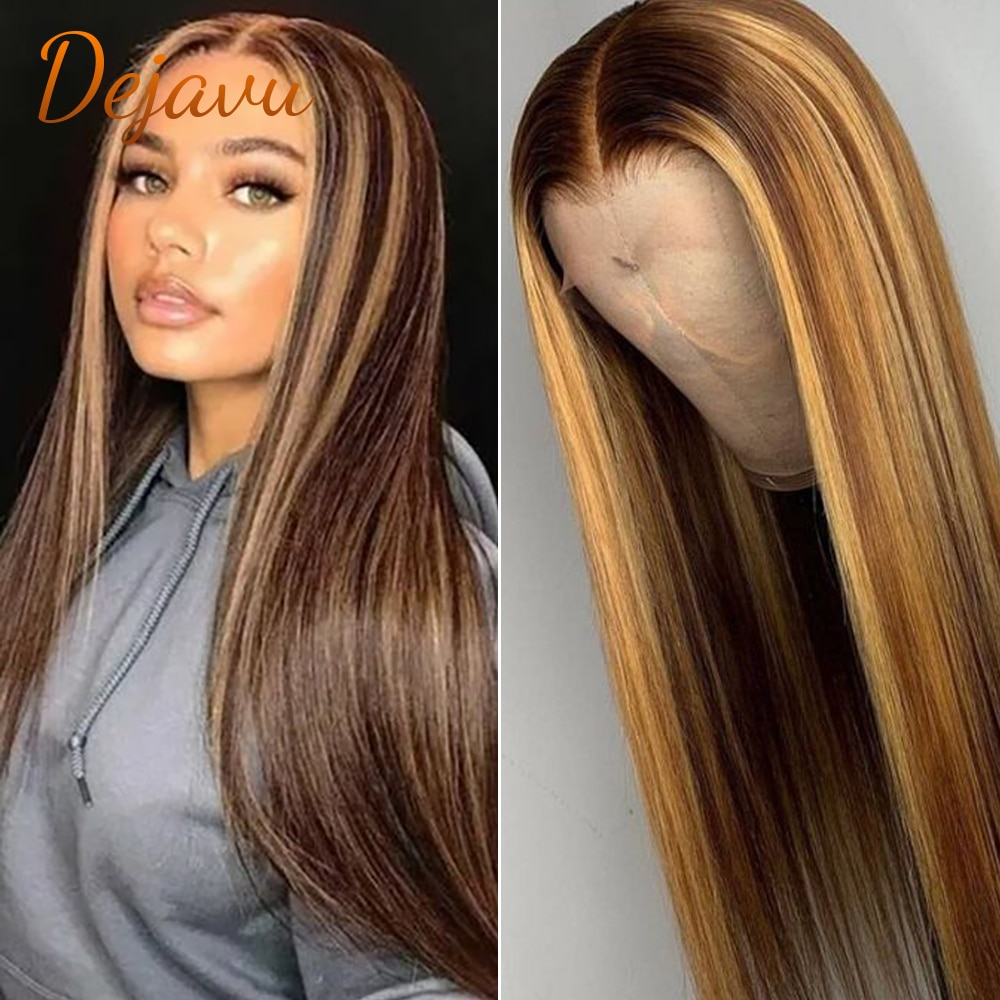 Dejavu P4/27 Highlight Straight Lace Front Wig Human Hair Wigs Lace Frontal Blonde Ombre Wig Brown Colored Prepluck Remy Wig