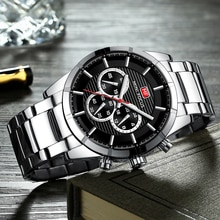 MINI FOCUS 2020 Mens Business Quartz Watches Army Military Waterproof Chronograph Wristwatch Men Relogios Clock Silver black