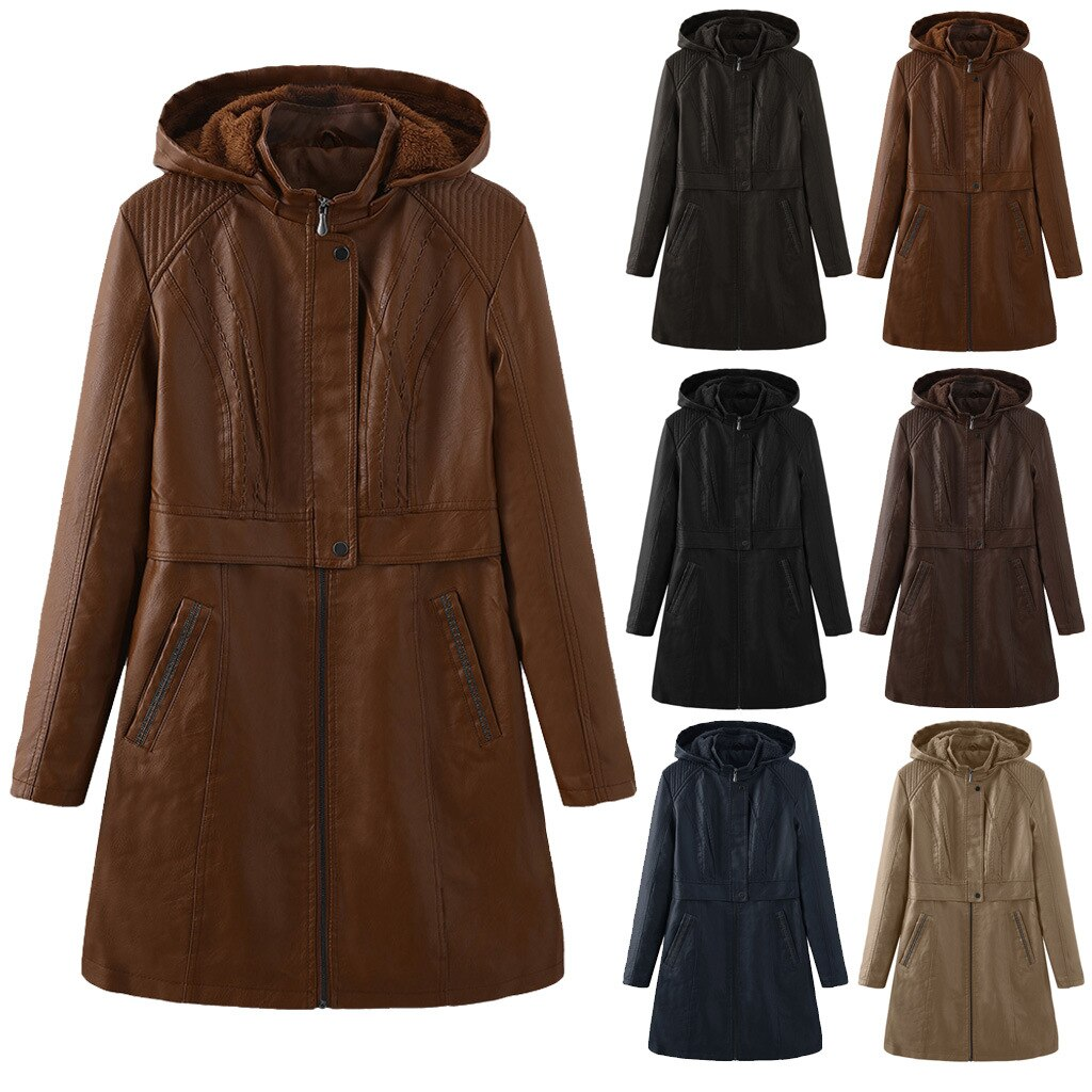 The new foreign trade women's long-style windcoat plus velvet leather jacket windproof jacket hood removable