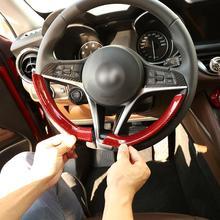 Red Real Carbon Fiber Stijl Stuurwiel Decoratie Frame Strip Cover Trim Voor Alfa Romeo Giulia Stelvio 2017-2019 accessoires
