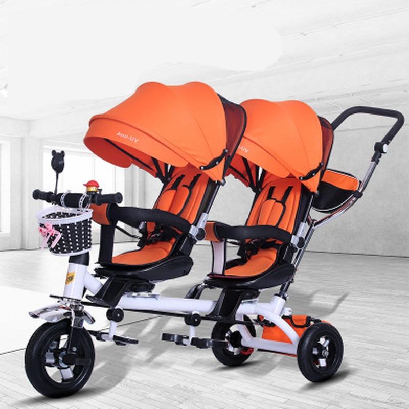 عربات أطفال مزدوجة التوأم مع عجلة هوائية عالمية السفر عربة أطفال الأطفال مقعد مزدوج دراجة أطفال ثلاثية النقل أطفال دفع ترايك