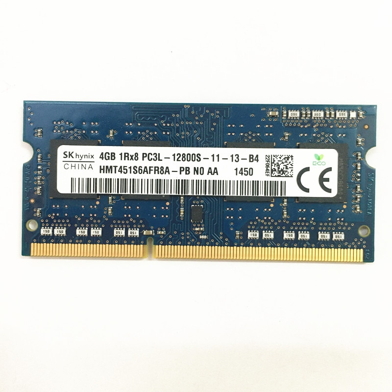 SKhynix DDR3 RAM 4GB 1Rx8 PC3L-12800S-11-13 DDR3 4GB 1600MHz memory 1.35V laptop ram used in good condition