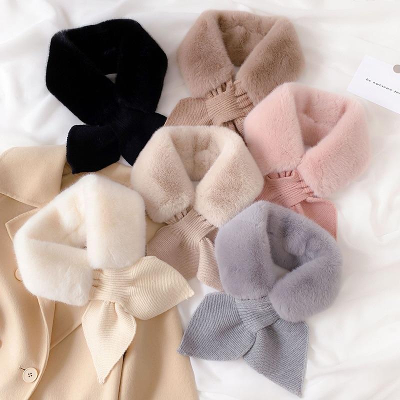 Korean Women Plush Knit Wool Warm Scarf Winter Faux Fur Thicken Windproof Cross False Collar Neck Guard Scarves Female