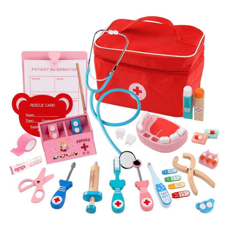 Juego de madera para niños, Kit médico rojo para Doctor, juego de caja de medicina para dentista, bolsa de tela, juegos de embalaje, juguetes para niños y niñas