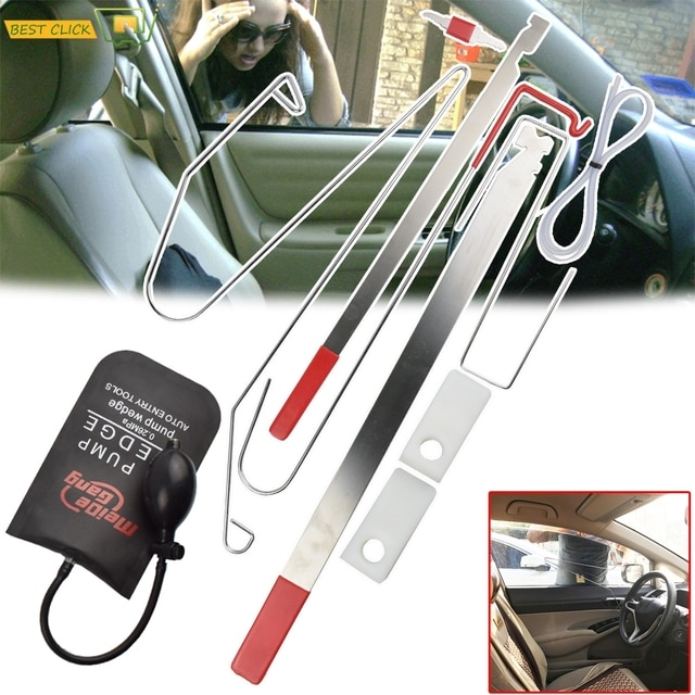9 Pcs Universal Car Door Emergency Opening Key Lost Lock Out Unlock Opem Tools Kit Air Pump Auto Styling Parts  Car Accessories