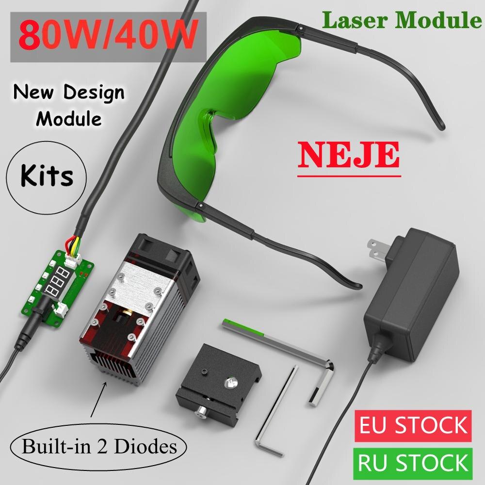 NEJE 40W/80W CNC Laser Module Kits 450nm TTL Module Set for Laser Engraving Machine Cutting Machine Wood Marking Cutting Tool