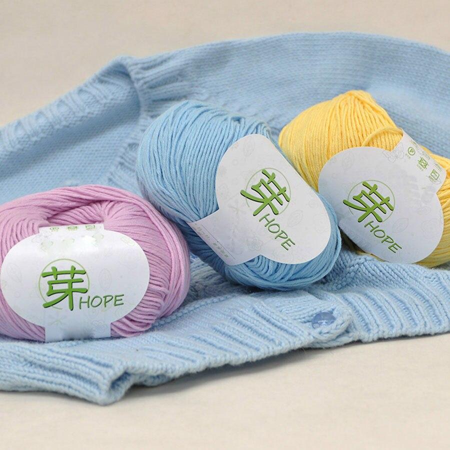 Hilo de algodón para bebé con ventilación de 50g, hilo de tejer a mano absorbente de humedad para niños, suéter, cárdigan, chaleco, Material para manualidades Diy