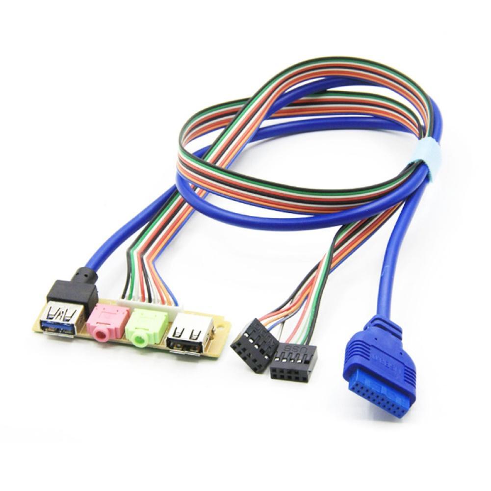 Usb 2.0 + 3.0 porta chassis computador computador caso de áudio painel frontal substituir cabo 70cm