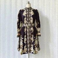 summer 2021 new designer womens flroal print stand collar long sleeves vintage dress b950