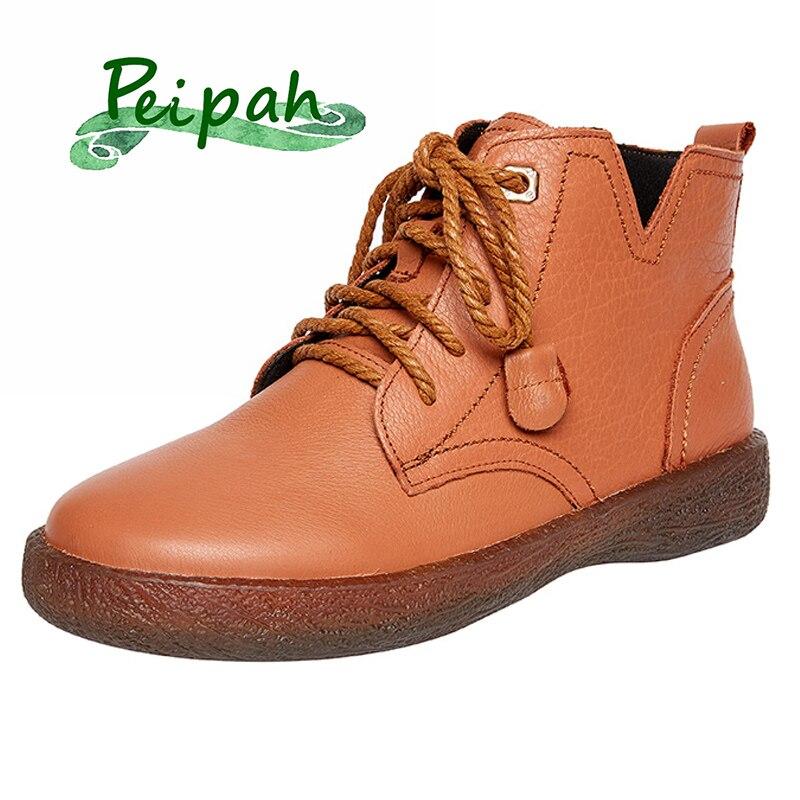PEIPAH-حذاء نسائي من الجلد الطبيعي ، حذاء مسطح بنعل سميك ، غير رسمي ، برباط ، لفصلي الربيع والخريف