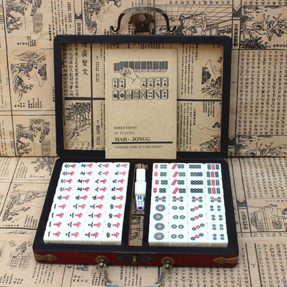 Chinese Numbered Mahjong Set 144 Tiles Mah-Jong Set Portable Chinese Toy with Box Fiber board for fun Camping large mahjong portable wooden boxes set table game mah jong travelling board game indoor antique leather box english manual