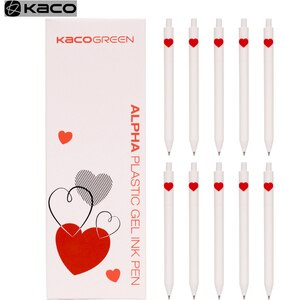 Kaco LOVE Gel Pen Sign Pen 0.5mm Pen Black Ink Ballpoint White Pen Core Durable Signing Pen ABS Plastic Smooth Ink Stationery