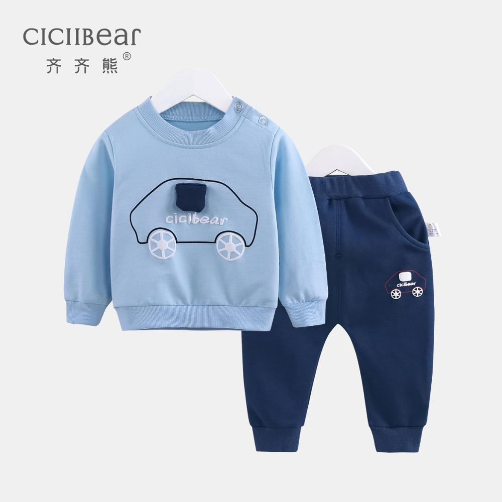 ciciibear New  boys girls spring clothes baby out suit baby print cartoon leisure two-piece suit baby boy clothes