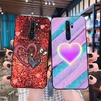 sequins heart shape color beautiful newly arrived black cell phone case for oppo a5 a9 2020 reno2 z renoace 3pro realme5pro