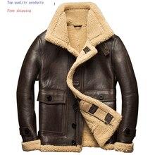 Hiver veste en cuir véritable hommes chaud manteau de fourrure naturelle en peau de mouton moto vol veste dextérieur de haute qualité 7107-1