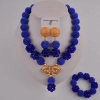 fashionable royal blue african beads jewelry set zcq02 01