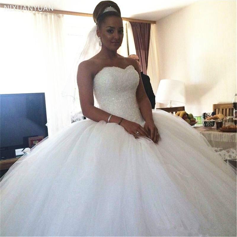 Vestidos de boda cuentas de cristal nuevo diseñador de lujo escote corazón tul abultado vestido de baile con cordones vestidos de novia 2020 vestidos de boda