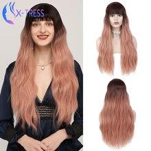 Sintético destaque rosa perucas para mulher 26 polegadas de longa onda natural X-TRESS peruca com franja cosplay lolita peruca