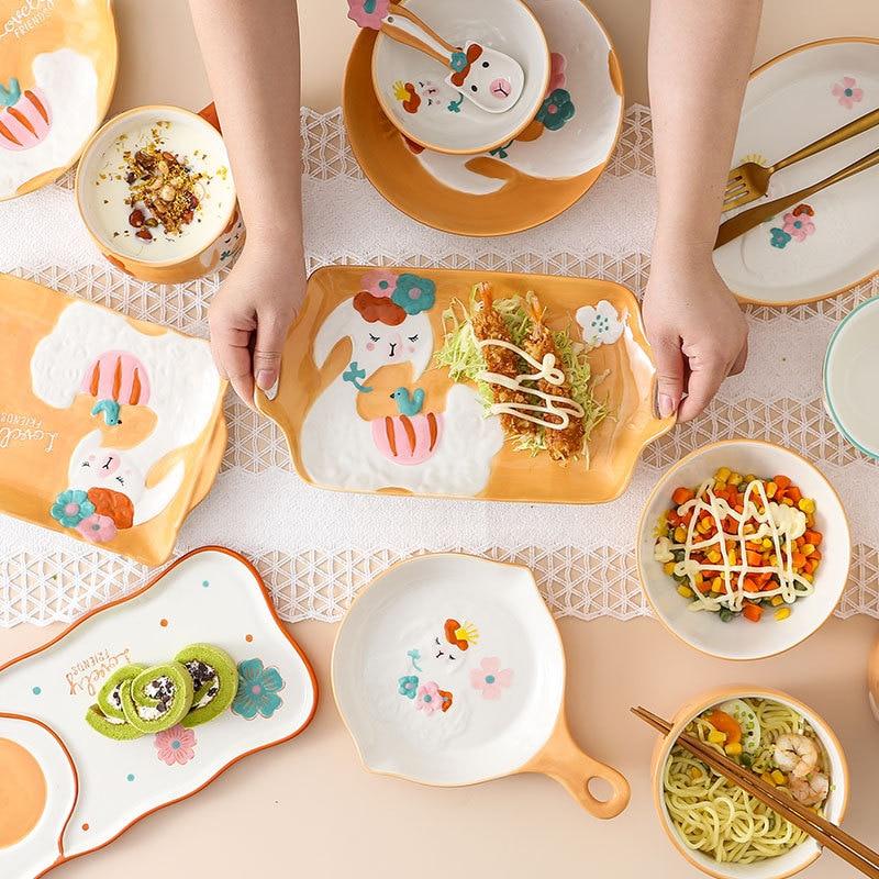 Creative Hand-painted Ceramic Tableware Set Baking Plate Cutlery Rice Soup Bowls Noodle Fruit Ramen Bowl Crockery Dinnerware