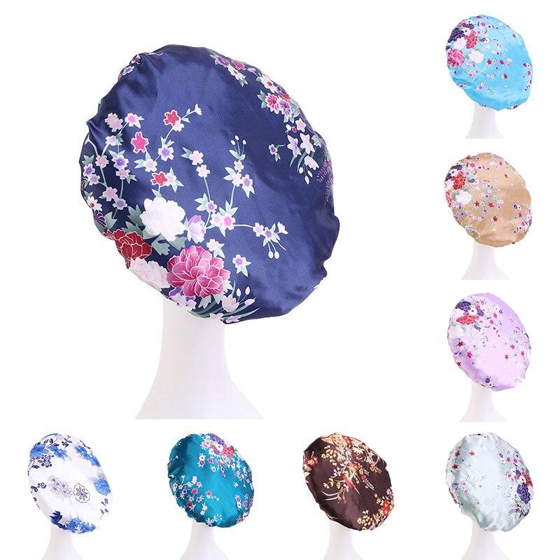 Модные женские ночные кепки в американском стиле с принтом, темпераментные кепки для ухода за волосами, удобные мягкие атласные эластичные ...