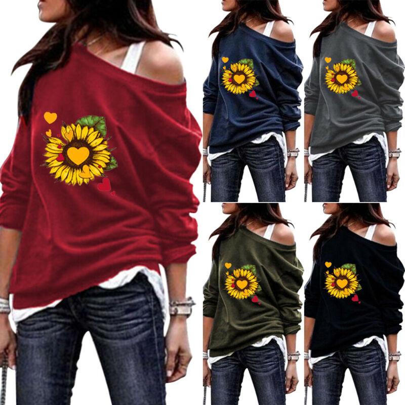 long sleeve scrawl printed v neck tee Women Printed Long Sleeve T-shirt Ladies Casual Loose Crew Neck Tops Blouse Tee