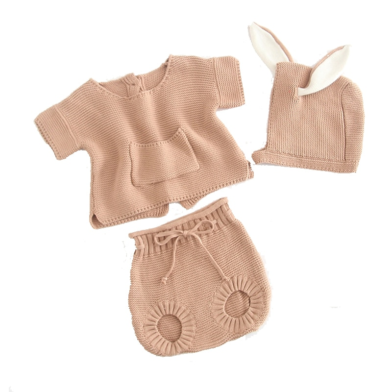 1 set 0-2 Years Baby Boy Girl Cotton Suit Small Pocket Pure Clothes Child Autumn Spring  Cotton Suit Knitted Outwear NOT  HAT