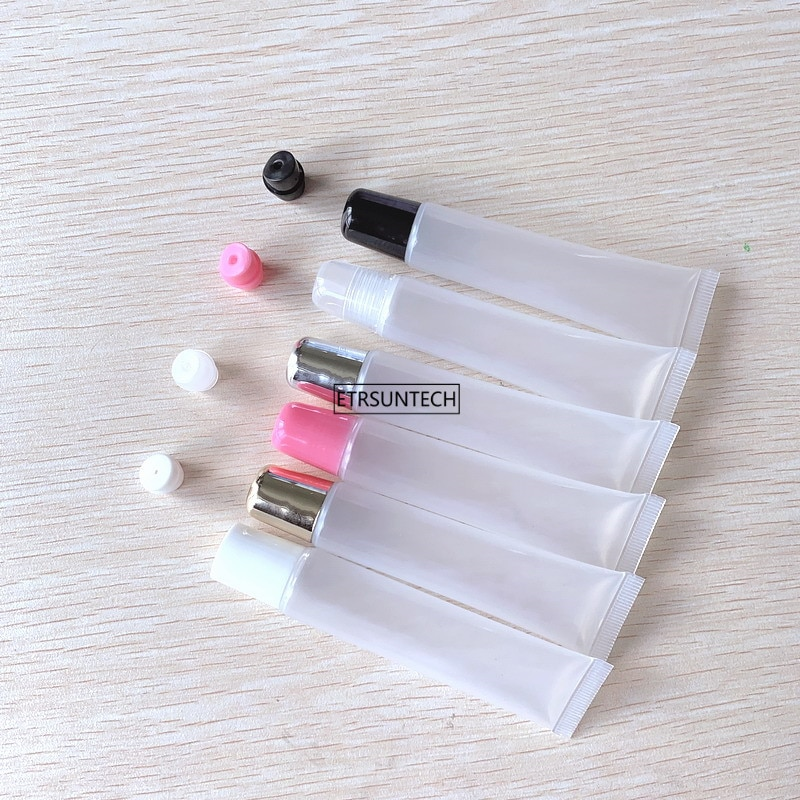 10pcs 10ml 15ml 20ml Empty Lipstick Tube,Lip Balm Soft Hose,Makeup Squeeze Sub-bottling,Clear Plastic Lip Gloss Container F606