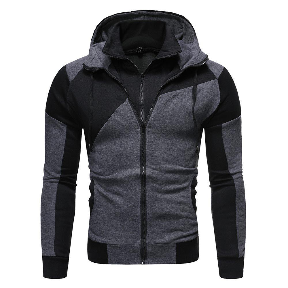 Куртка мужская Спортивная приталенная на молнии, однотонная хлопковая теплая толстовка с капюшоном, с длинным рукавом, одежда на весну-осен...