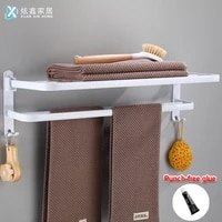 bathroom towel holder porcelain white towel rack aluminum wall mounted folding towel hanger with hook nordic style storage shelf