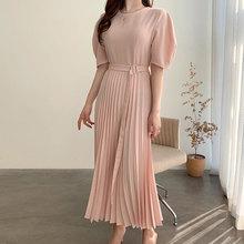 Chic Design Pleated Dress Female 2020 Summer Vintage Bubble Sleeve Temperament Slim High Waist Long Dresses Women Vestidos BW425