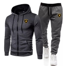 Men's Brand Lamborghini 2-Piece Sportswear Men's Hooded Sweatshirt + Pants Zipper Coat Jacket Hoodie