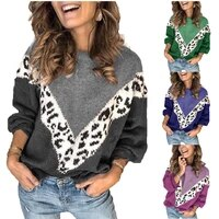 fallwinter 2020 new european and american fashion print splice leopard print sweater long sleeved sweater woman
