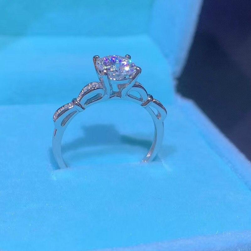 925 Sterling Silver Moissanite Wedding Ring for Women Petite Milgrain Engagement Ring with Diamonds for Girlfriend Gift