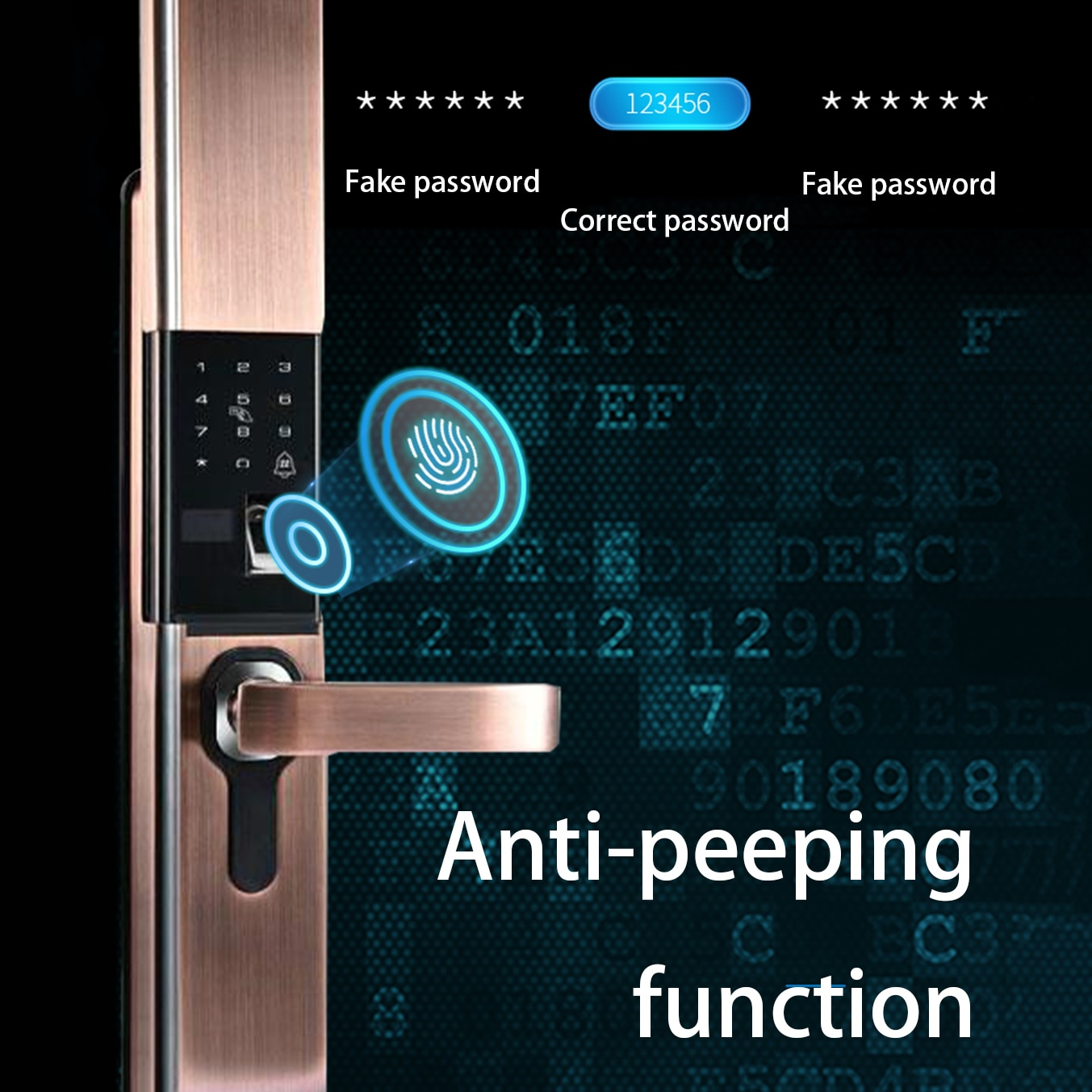 Electronic Door Lock Fingerprint Lock for Door with Automatic Sliding Cover Key Digital Code Auto Smart Gate Lock